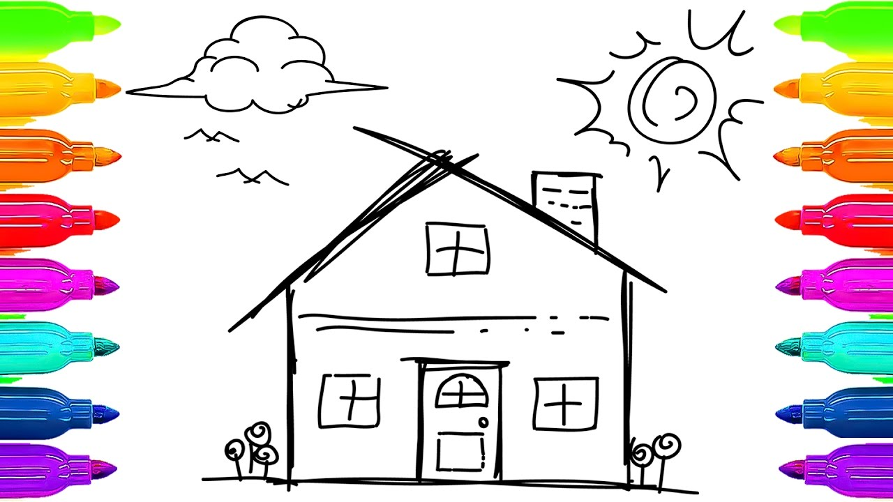 1280x720 How To Draw House, Clouds, Sun And Trees Art For Children