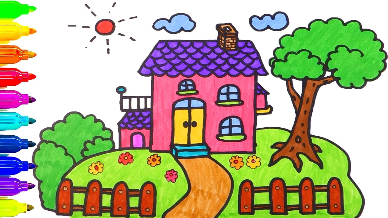 1280x720 How To Draw House Coloring Pages Drawing For Children Learning