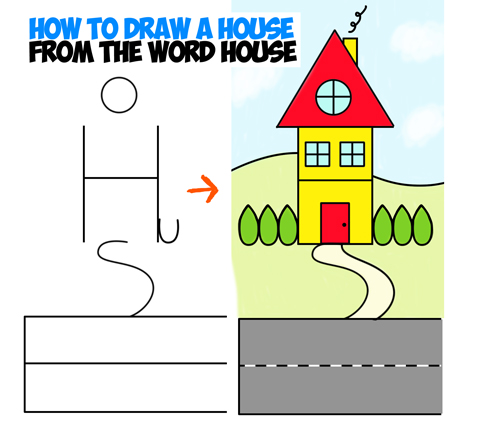 500x422 How To Draw A Cartoon House From The Word House An Easy Word