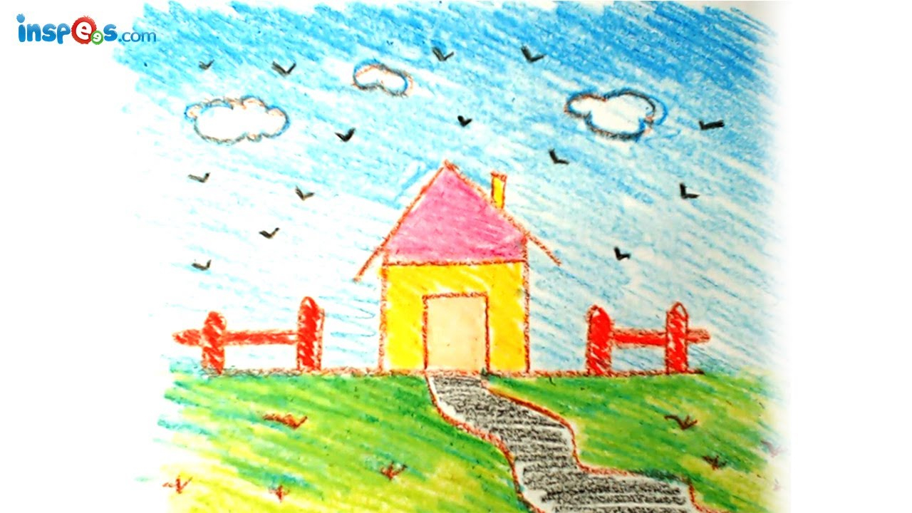 1280x720 Kids Drawing Landscape How To Draw House Landscape