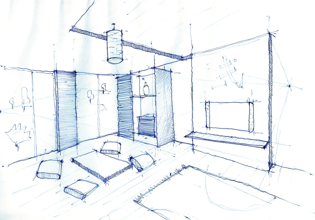 1200x840 Interior Design Drawing, Living Room Pen Sketch ARCH
