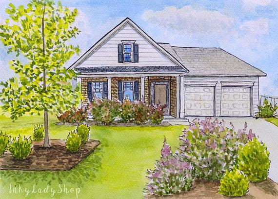570x408 Custom House Portraitcustom House Paintingpainting