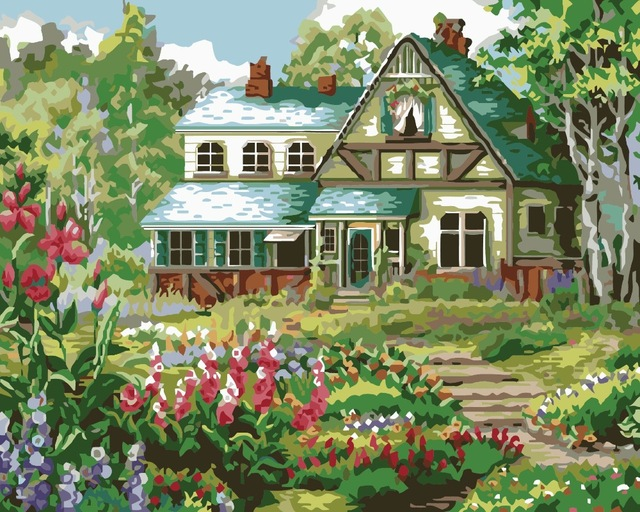 640x512 Frameless My House Landscape Diy Painting By Numbers Kits Drawing