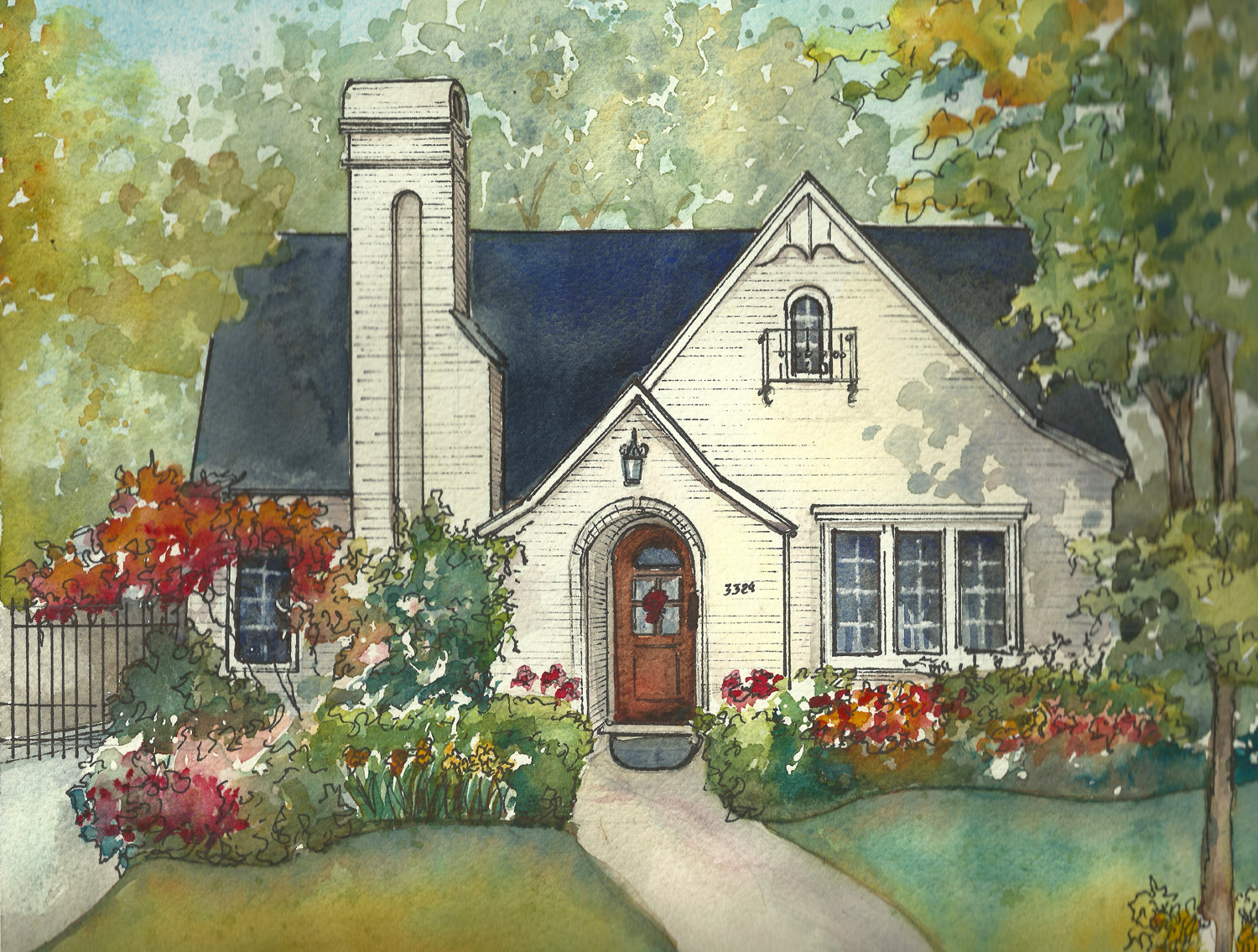 1500x1135 House Painting In Watercolor With Ink Details Custom Portrait