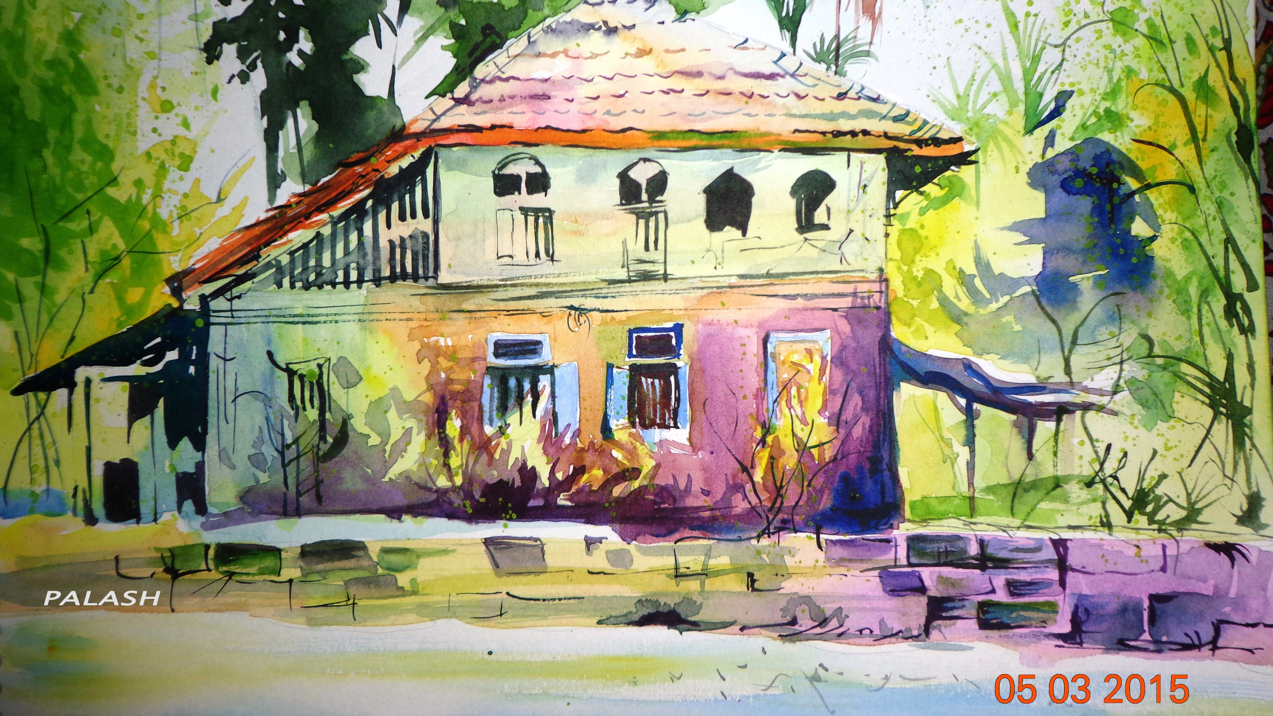 4096x2304 How To Draw A Forest House Watercolor Painting For Beginners