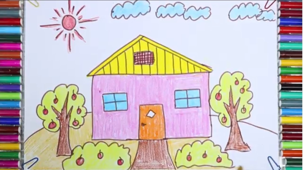 1280x720 How To Draw And Paint A House For Kids With Garden Drawing