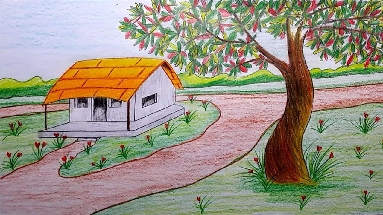 1280x720 How To Draw A Beautiful House And Tree With Painting Technique