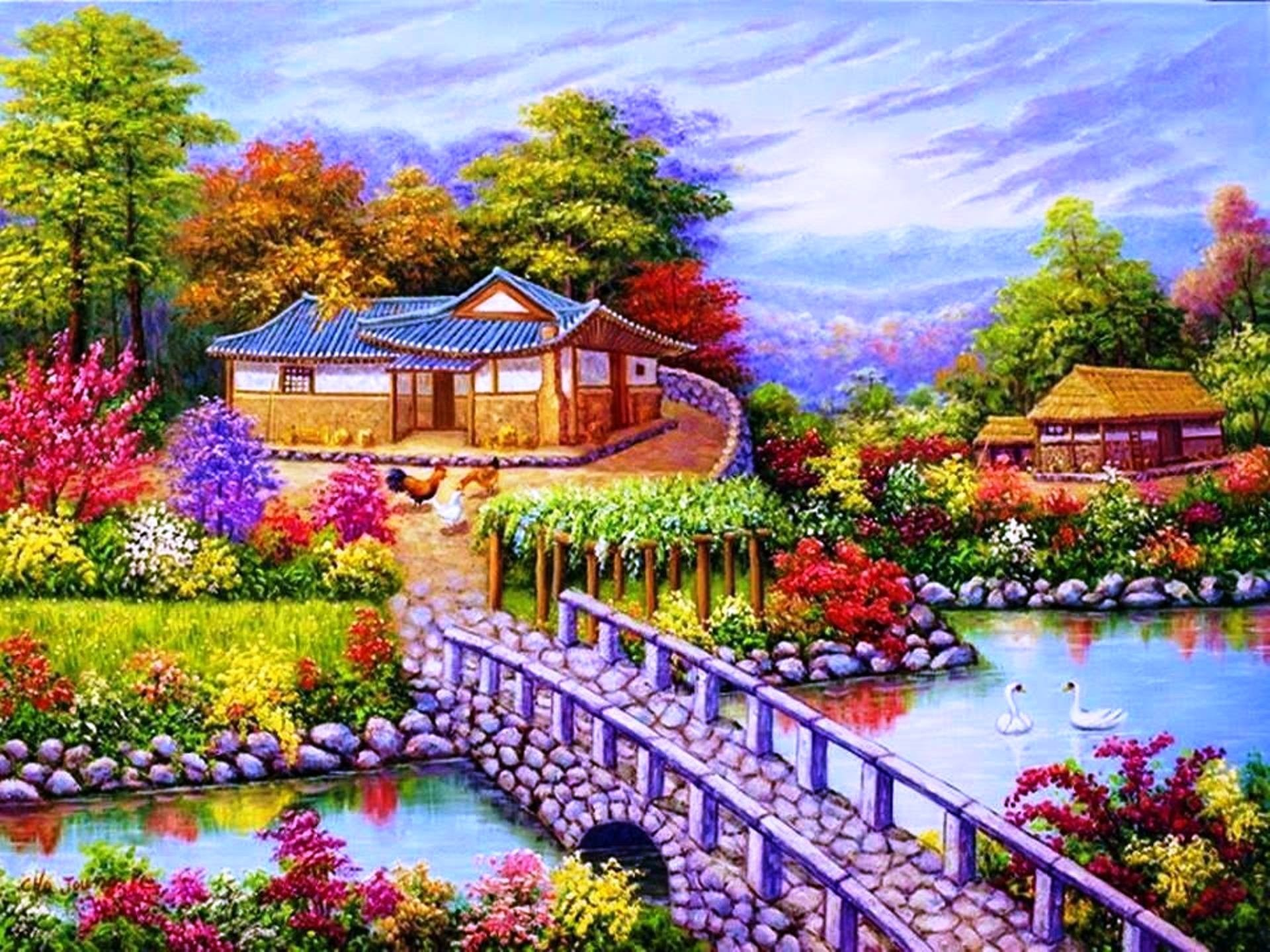 1920x1440 Lakes Nature Beautiful Lovely Sky Swans Cottage Fishes House