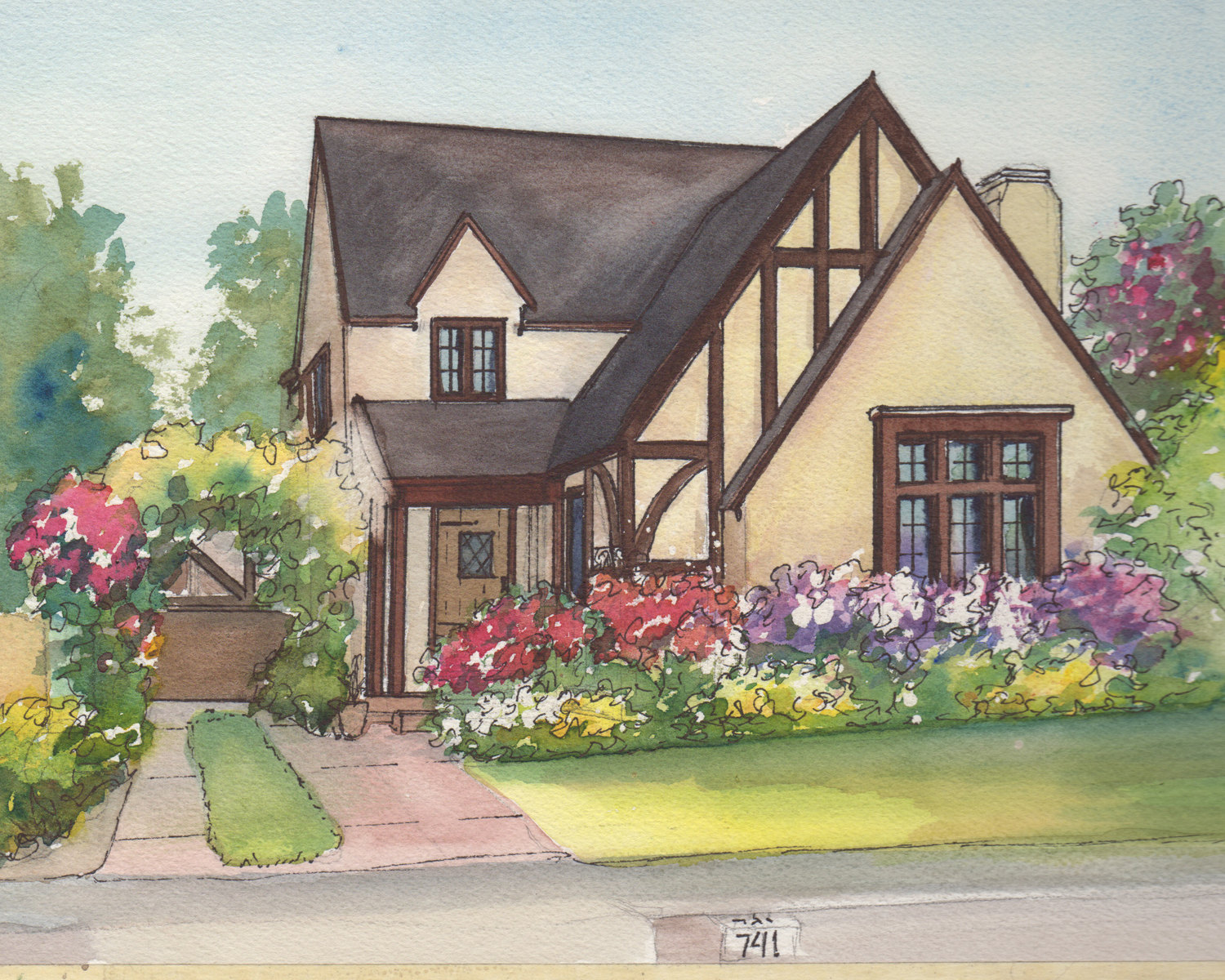 1500x1200 Watercolor House Drawing Painting Of Your Home With Ink