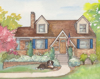 340x270 Watercolor House Painting 8x 10 Personal Artwork