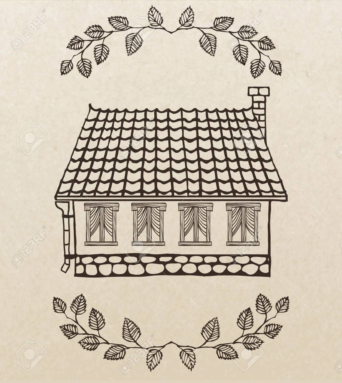 1161x1300 Cute Hand Drawn House With Chimney And Tiled Roof Royalty Free