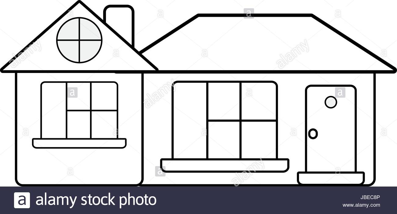 1300x701 Line Big House With Roof And Windows With Door Stock Vector Art