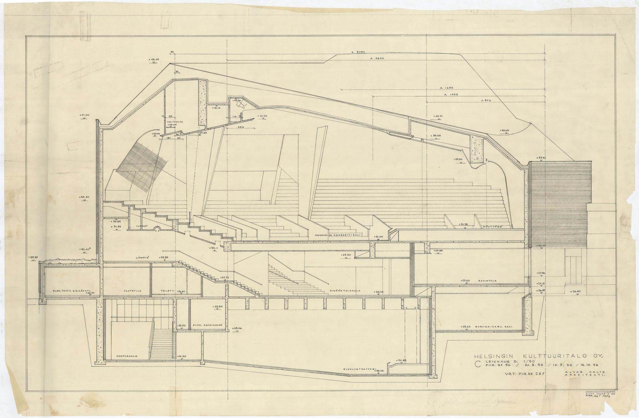2064x1350 Architectural Drawings Of The House Of Culture Alvar Aalto Shop