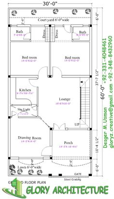 236x409 House Plan Drawing 35x60 Islamabad Design Project