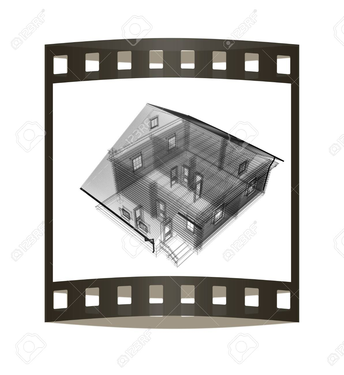 1192x1300 Line Drawing Of House. Top View. 3d Illustration. The Film Strip