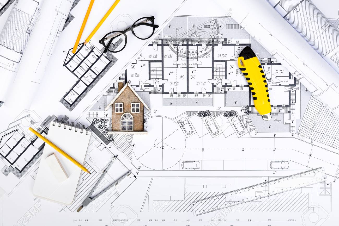 1300x868 Top View Of Construction Plans With Drawing Tools And House