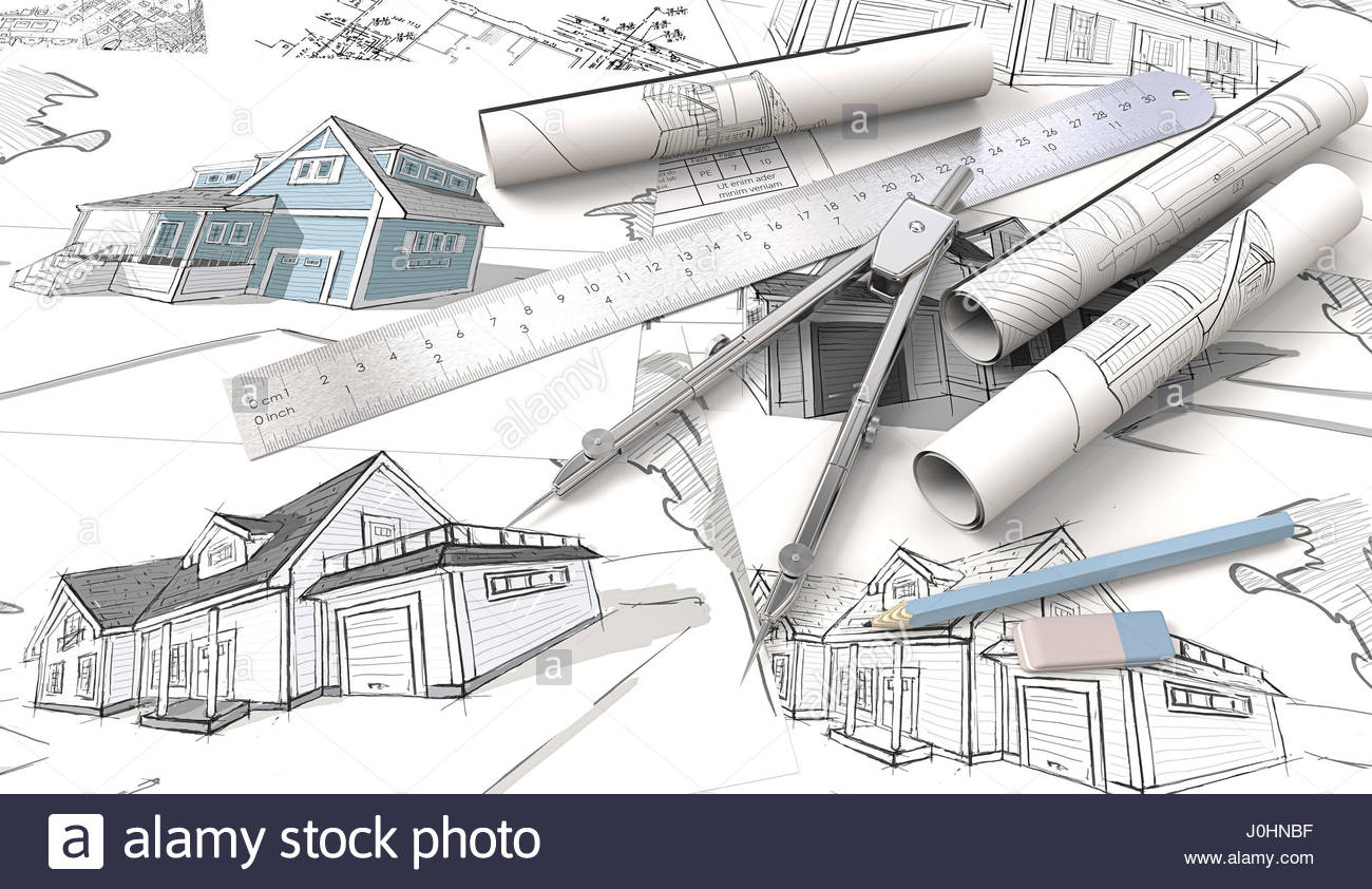 1300x842 Top View Of Architectural House Blueprints , Drawings And Sketches