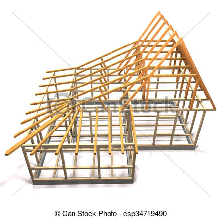 450x441 Wooden Frame Of A House (Top View). Wooden Frame Under Stock