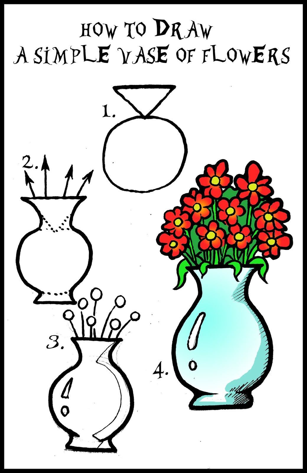 1039x1600 How To Draw A Vase Of Flowers Step By Step Daryl Hobson Artwork
