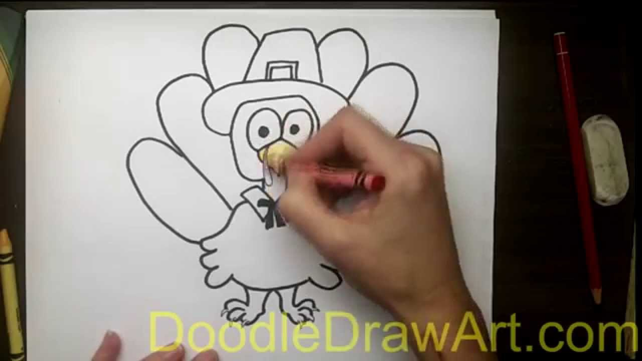 1280x720 Drawing How To Draw A Turkey In A Pilgrim Hat
