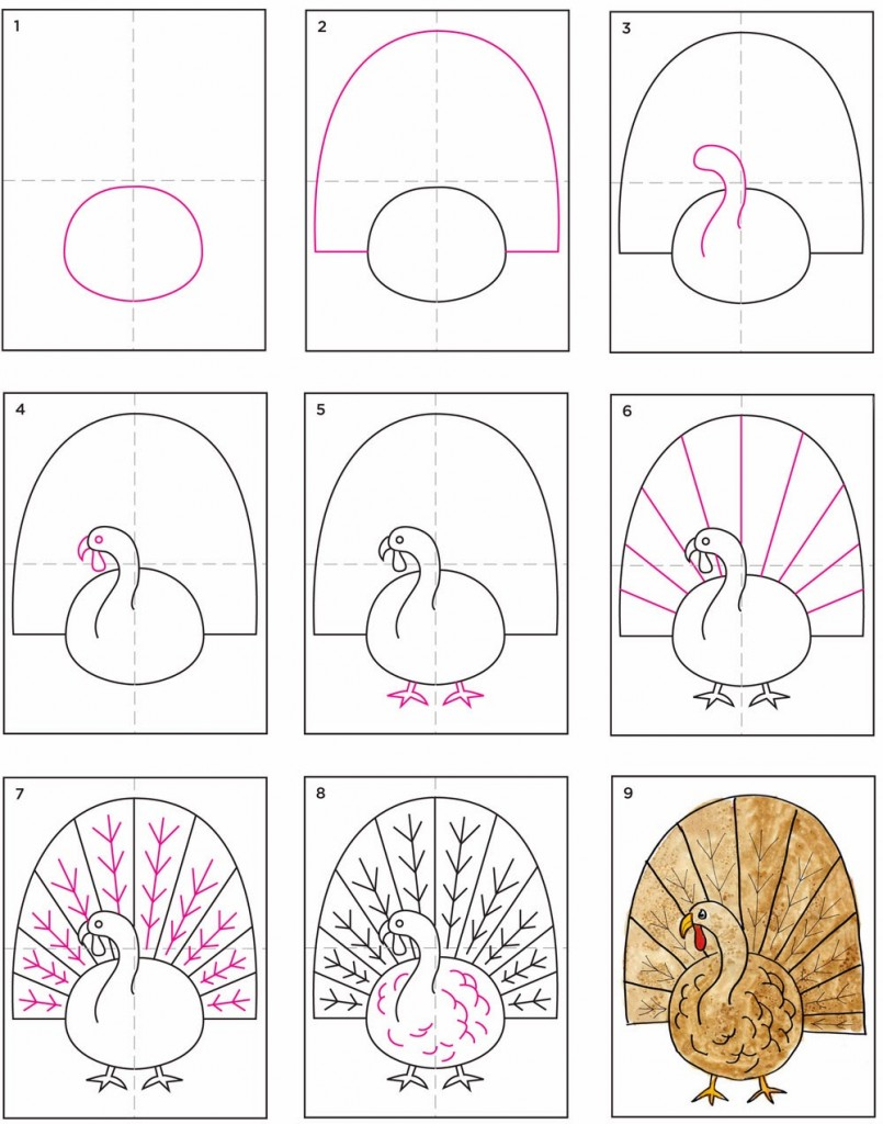 805x1024 How To Draw A Thanksgiving Turkey For Kids Step 4. Pin Drawn