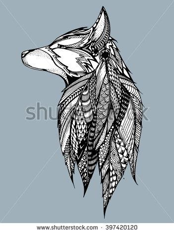 351x470 Profile Wolf. Howling Wolf. Portrait Of A Wolf. Stylized Dog. Head