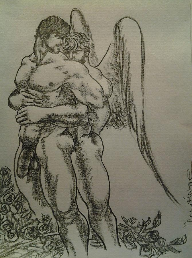 670x900 Angel Hug Drawing By Manat Large