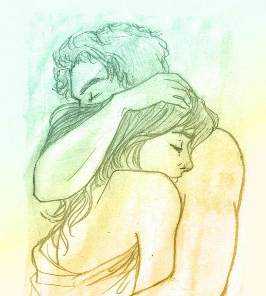 920x1024 Hugging Couple Drawing