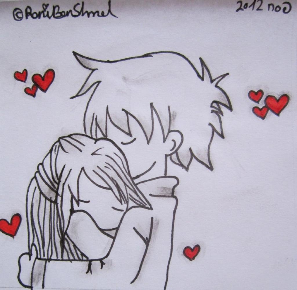 1024x1001 Cute Couple Hug Drawing