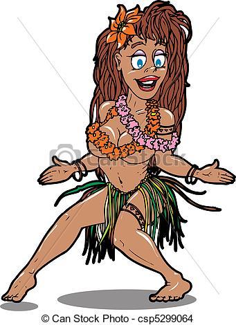 341x470 Hula 1. Hula Girl Dancing Wildly Eps Vector