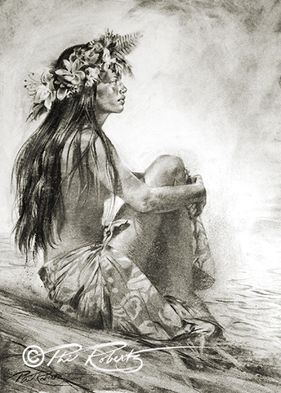 407x570 Hula Girl Island Art Charcoal Drawing By Phil Roberts Phil
