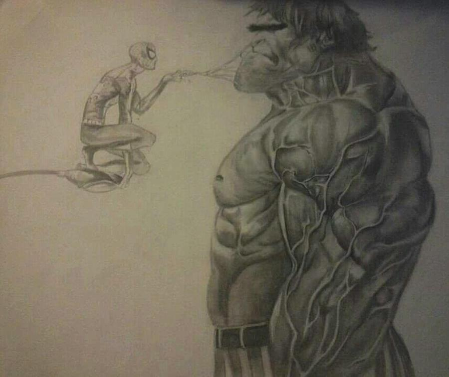 900x757 And Spiderman Drawing By Heather Blickley