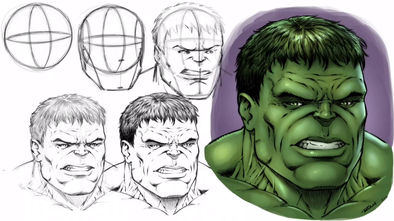 1280x720 How To Draw The Hulk's Face