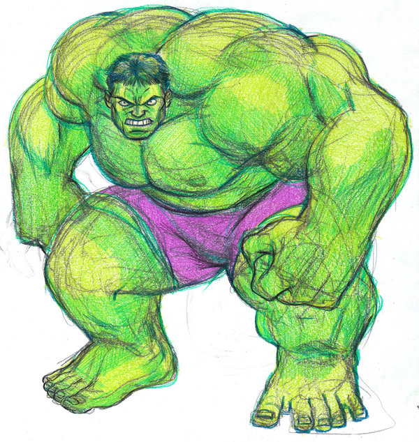 600x634 HULK Color Pencil Sketch By Parmaali On DeviantArt