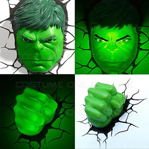 300x300 Marvel Avengers Hulk Facehead Amp Fist 3d Deco Wall Led Night Light