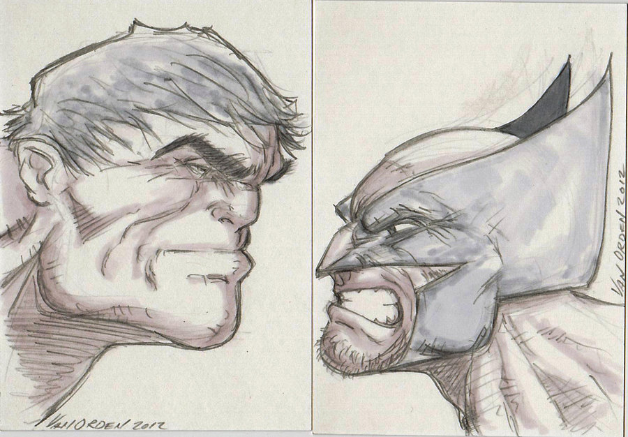 900x626 hulk vs wolverine sketch card by mikevanorden on deviantart