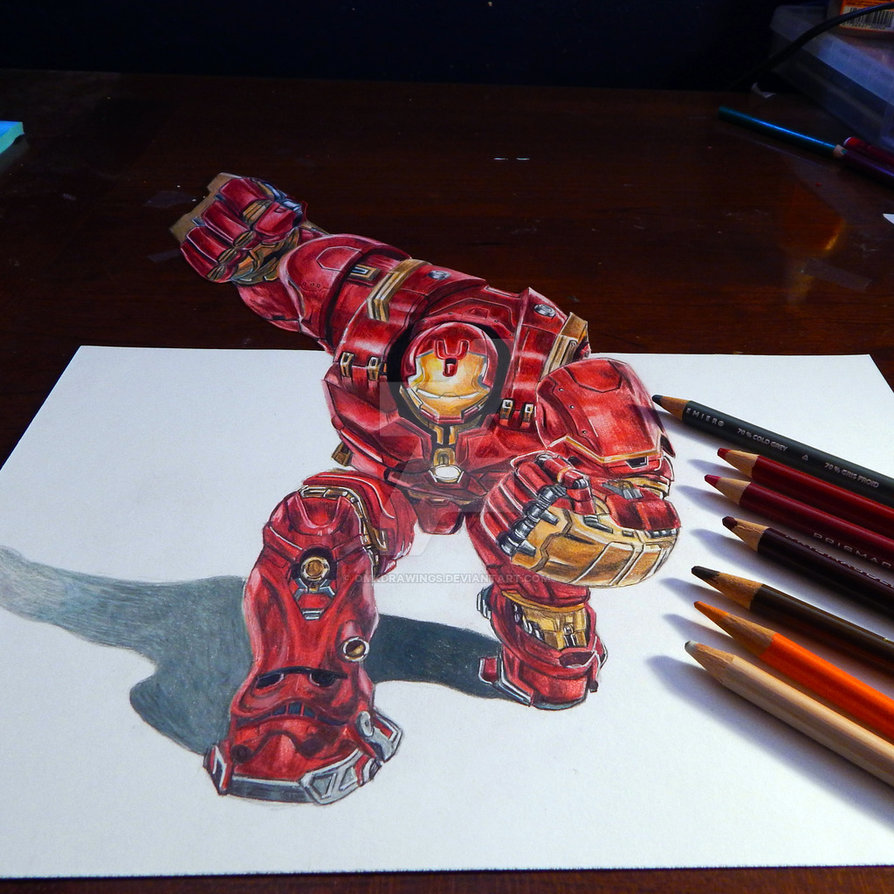 894x894 Hulkbuster 3d Drawing By Omkdrawings