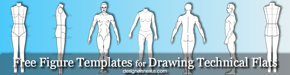 1004x260 Free Figure Templates For Technical Flat Drawing