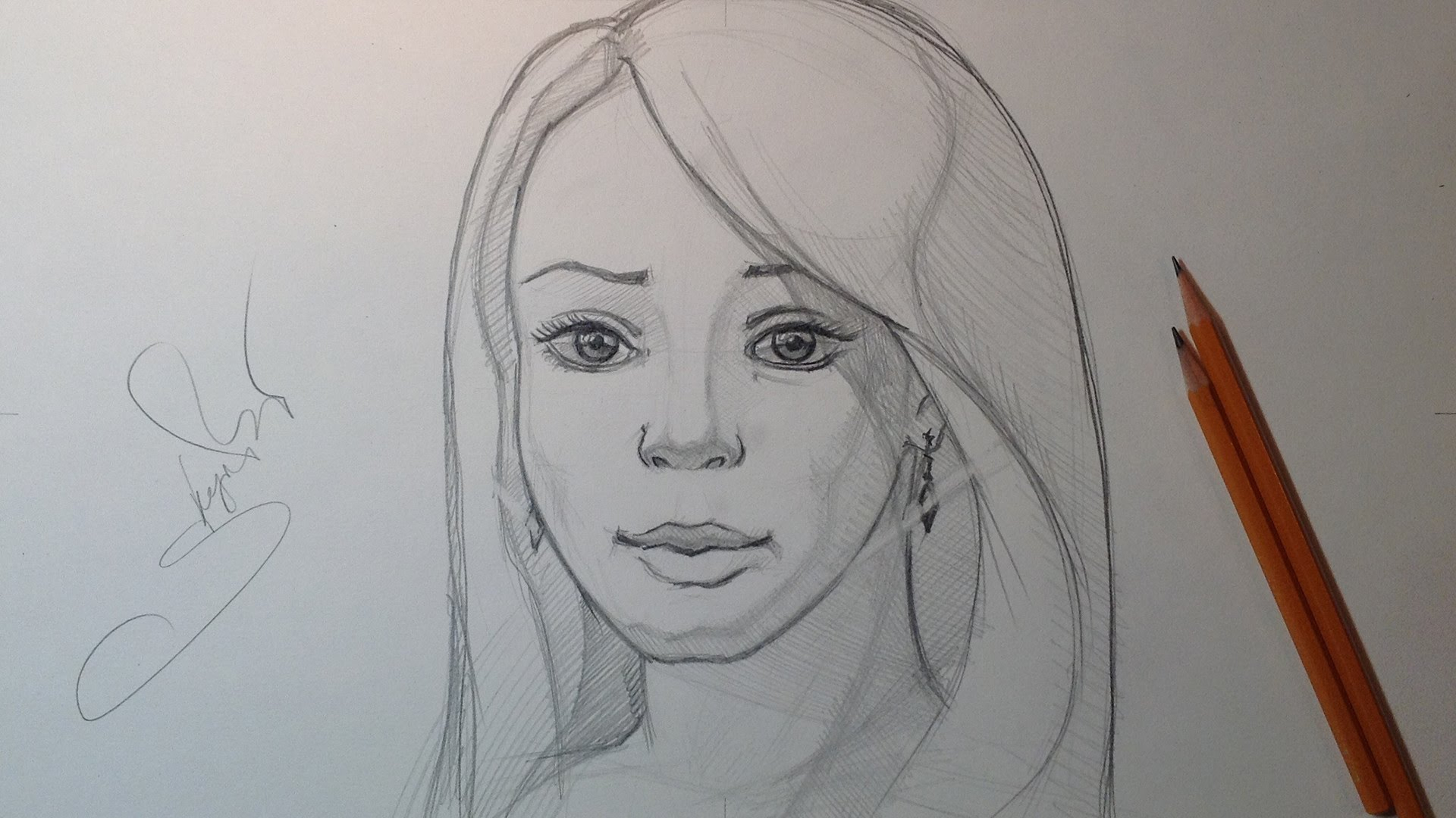 1920x1080 Made By Human Pencil Scratch Drawing Sketch Face Cute Woman