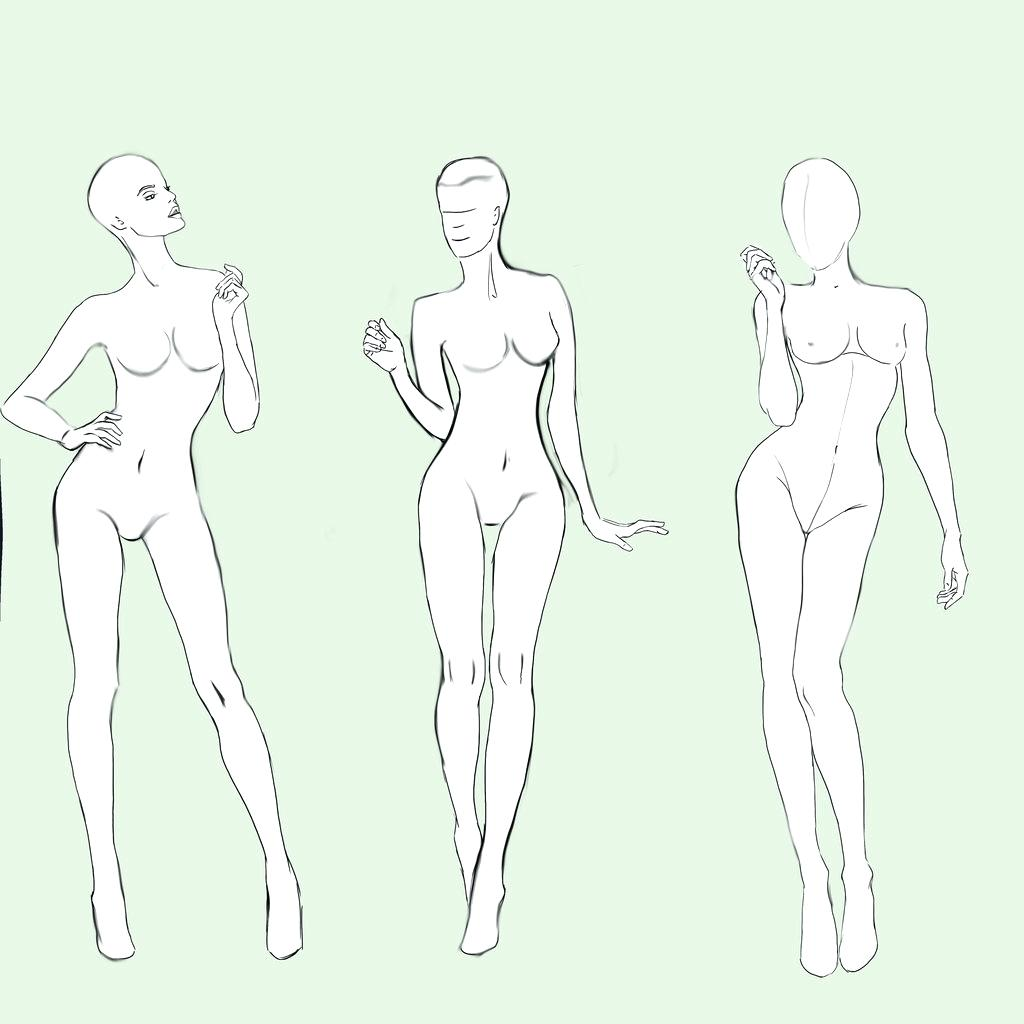 1024x1024 Template Drawing Models For Fashion Design Template