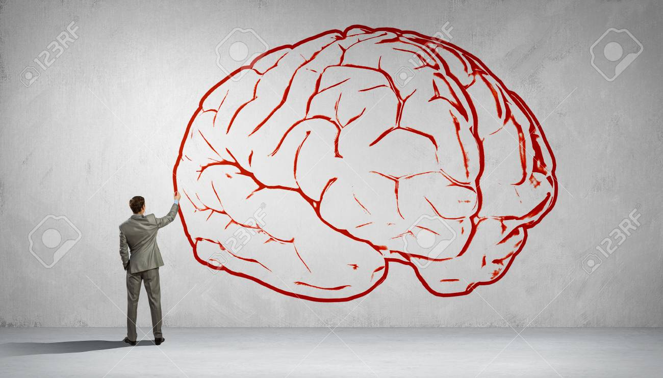 1300x742 Back View Of Businessman Drawing Human Brain On Wall Stock Photo