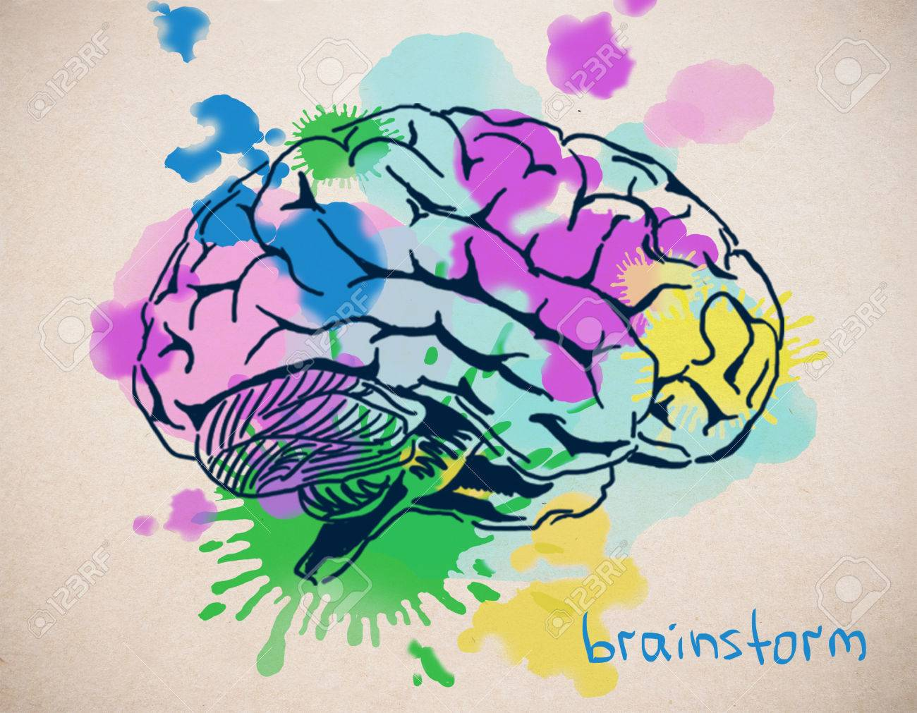 1300x1011 Close Up Of Creative Colorful Human Brain Drawing On Light