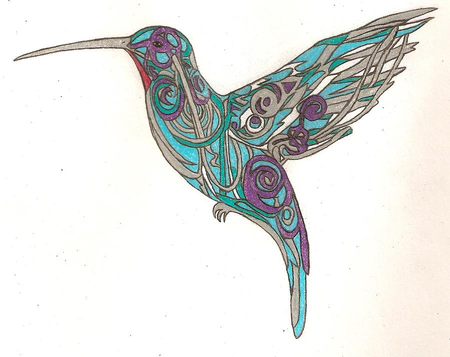 900x713 Spiral Hummingbird Drawing By Courtney Trimble