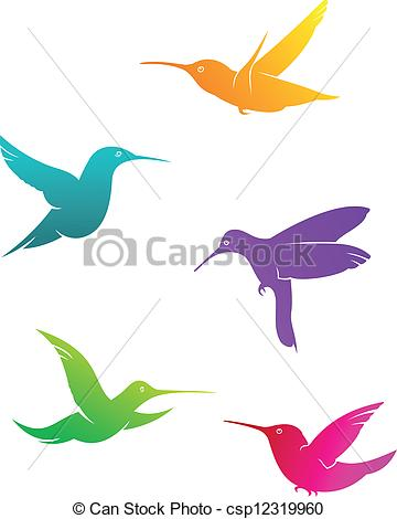 360x470 Colorful Flying Hummingbirds Set Isolated On White Clip Art