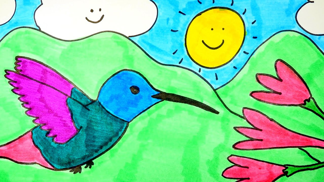 1280x720 How To Draw A Cute Hummingbird With Flower ~ Easy, Step By Step