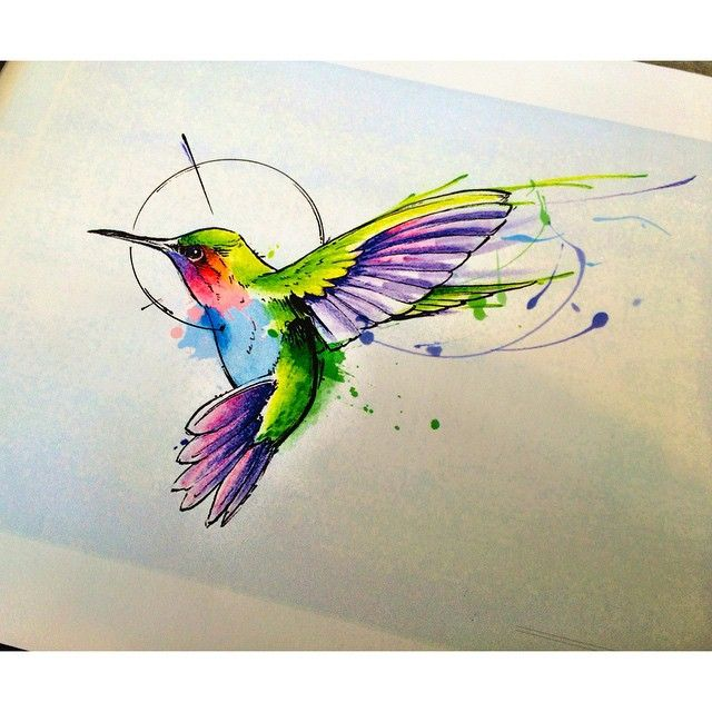 640x640 Image Result For Hummingbird Tattoo Neck Watercolor Tattoo