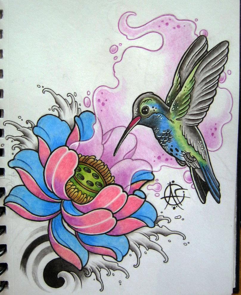 809x988 Hummingbird Tattoo Design By Frosttattoo