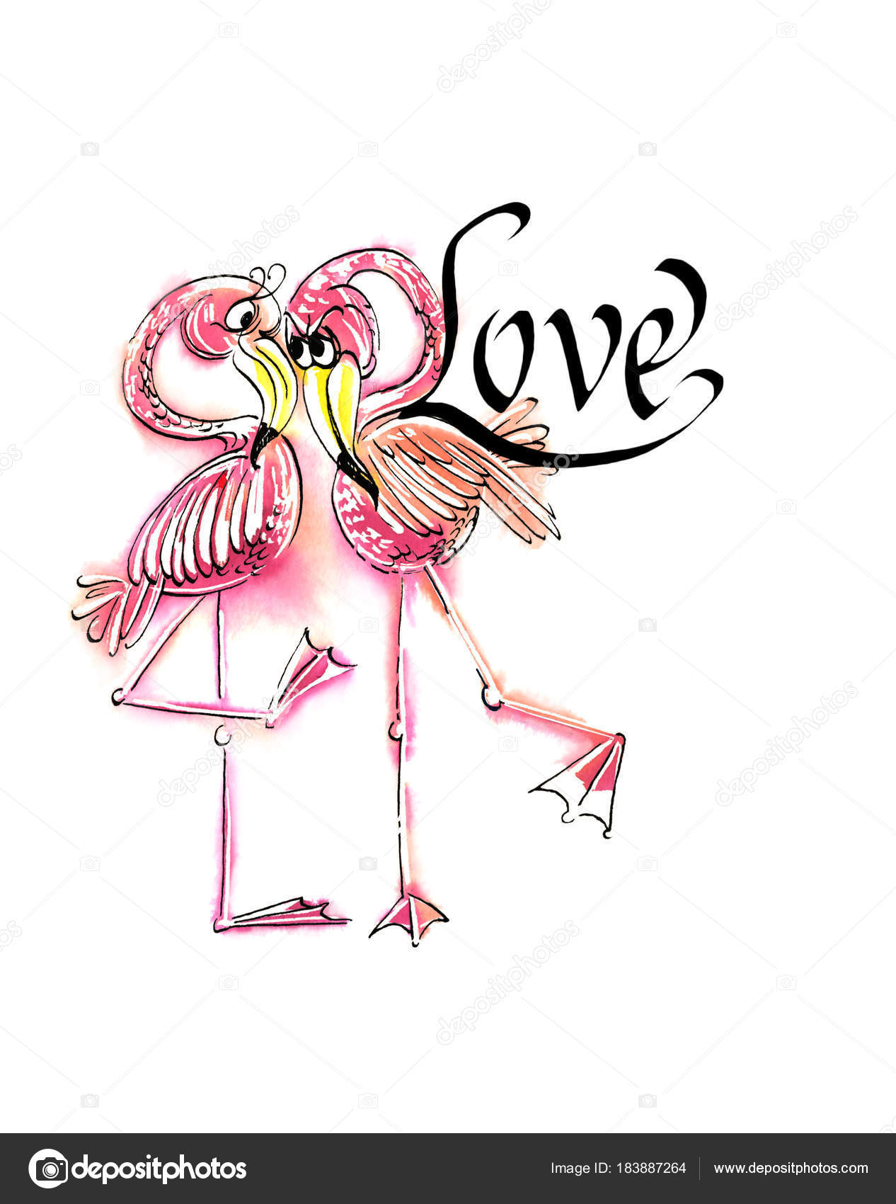 1266x1700 Humorous Drawing Pairs Flamingos Word Love Isolated White