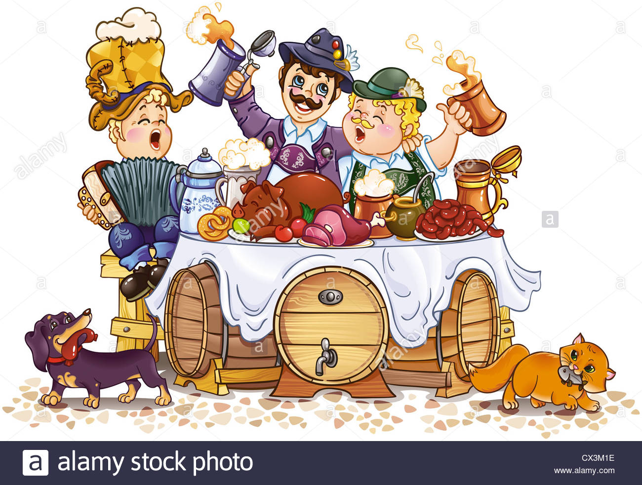 1300x982 Humorous Drawing Of Oktoberfest Festival Stock Photo, Royalty Free