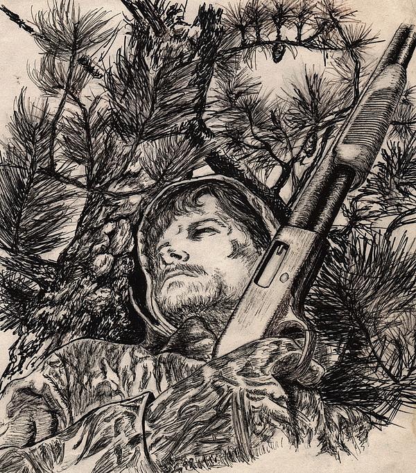 600x682 Deer Hunter Drawing By Kathleen Kelly Thompson